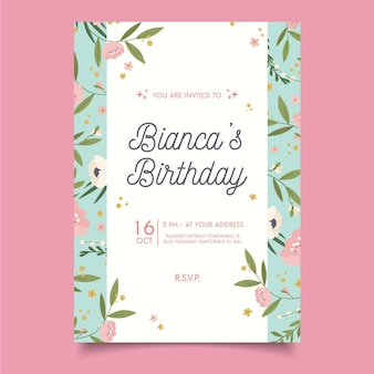 Modèle d'invitation de joyeux anniversaire de fleurs mignonnes exotiques