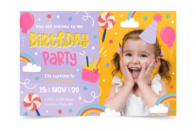 Modèle d'invitation de joyeux anniversaire