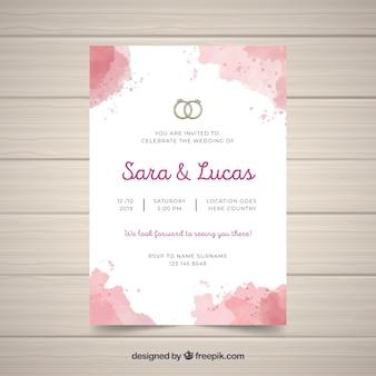 Modèle d'invitation de mariage abstrait aquarelle