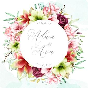 Modèle d'invitation de mariage avec amaryllis aquarelle et fleurs roses