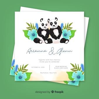 Modèle d'invitation de mariage animal aquarelle