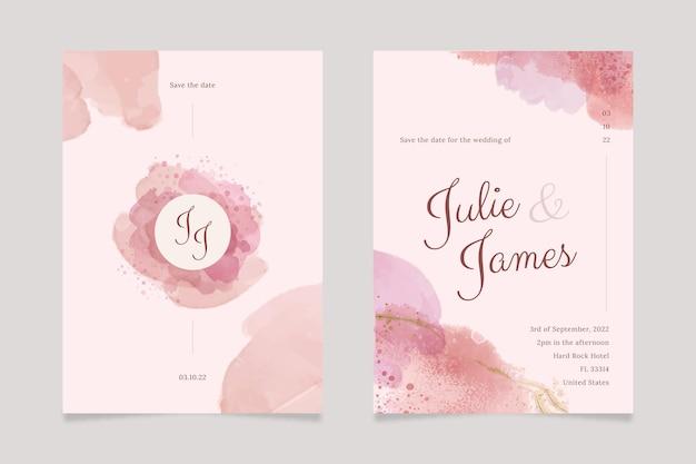 Modèle d'invitation de mariage aquarelle abstraite