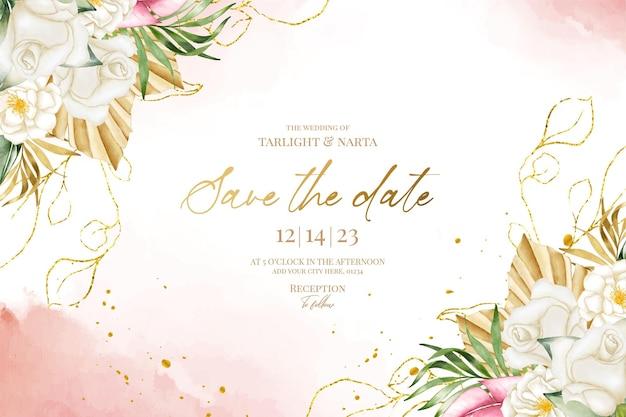 Modèle d'invitation de mariage avec aquarelle belle feuille