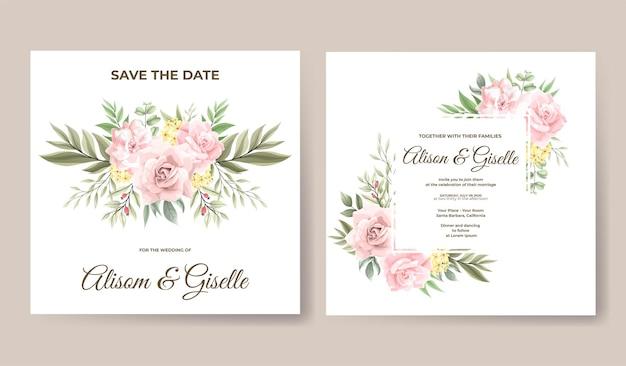 Modèle d'invitation de mariage aquarelle belle fleur rose