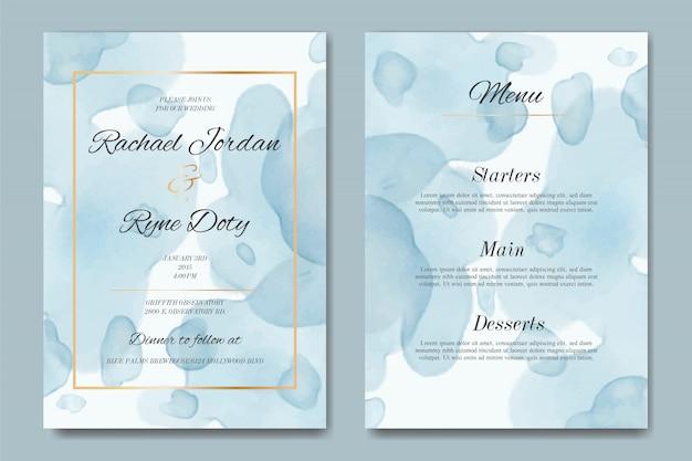 Modèle d'invitation de mariage aquarelle avec cadre doré