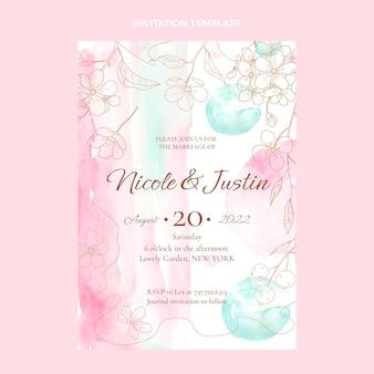 Modèle d'invitation de mariage aquarelle dessinés à la main