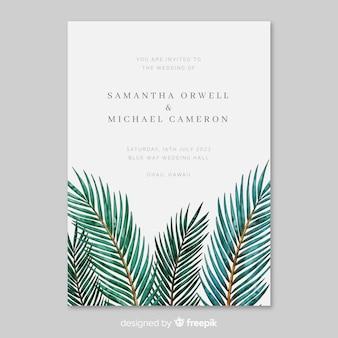 Modèle d'invitation de mariage aquarelle feuilles tropicales
