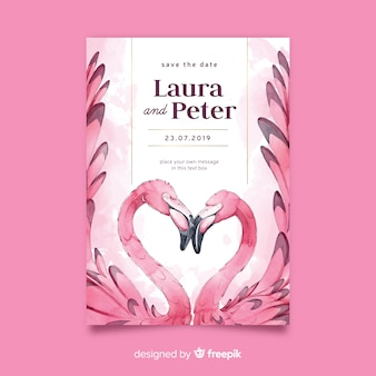 Modèle d'invitation de mariage aquarelle flamants roses