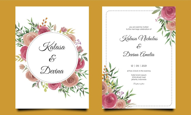 Modèle d'invitation de mariage aquarelle fleur rose