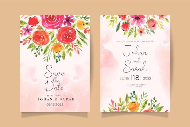 Modèle d'invitation de mariage aquarelle avec des fleurs colorées