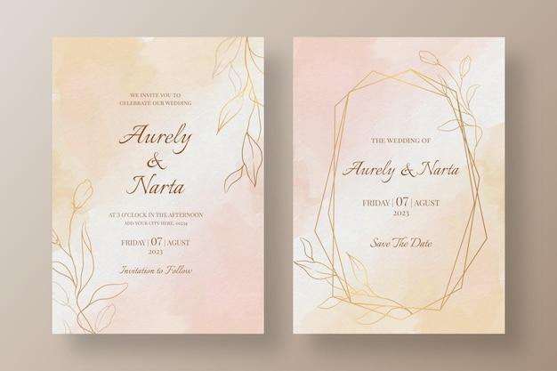 Modèle d & # 39; invitation de mariage aquarelle avec des fleurs dorées
