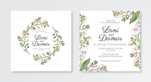 Modèle d'invitation de mariage avec aquarelle floral