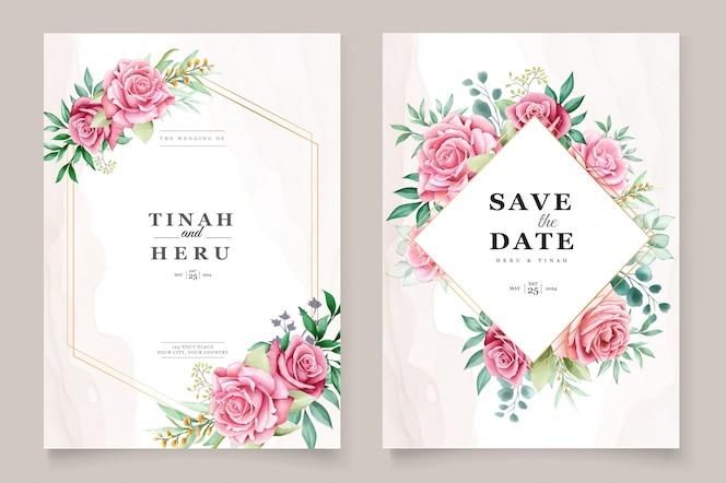 Modèle d'invitation de mariage aquarelle floral