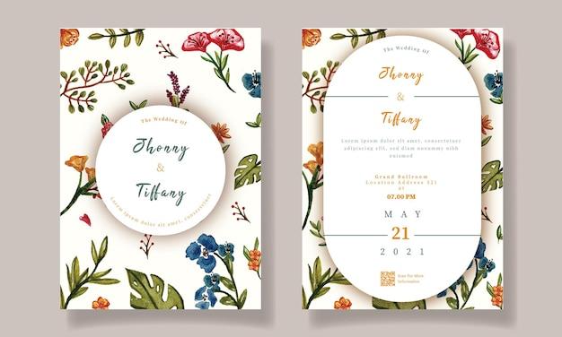 Modèle d & # 39; invitation de mariage aquarelle florale colorée
