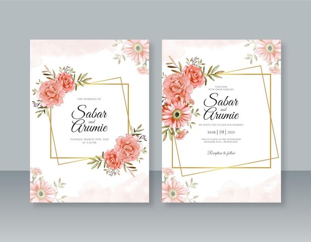 Modèle d'invitation de mariage avec aquarelle florale