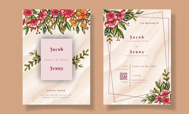 Modèle d & # 39; invitation de mariage aquarelle florale