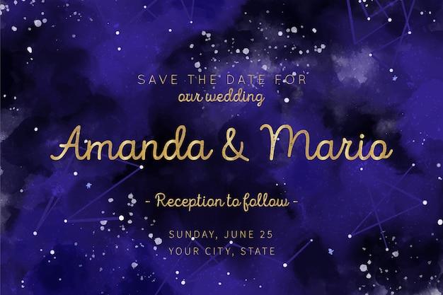 Modèle d'invitation de mariage aquarelle galaxie
