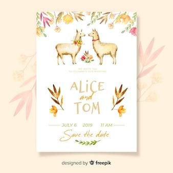 Modèle d'invitation de mariage aquarelle lama