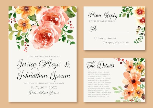 Modèle d'invitation de mariage aquarelle avec pivoines rouges