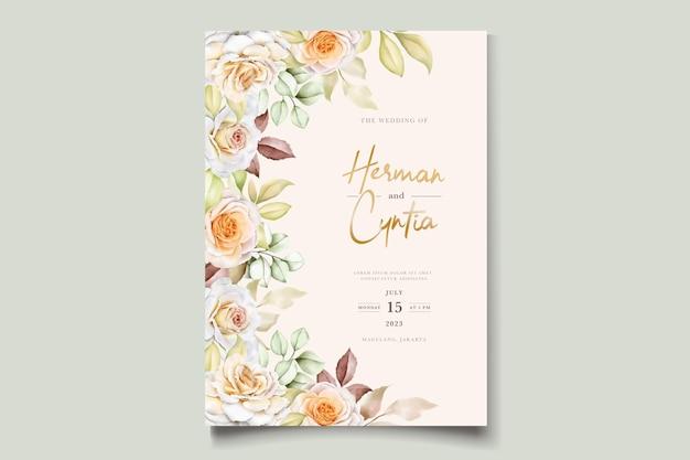 Modèle d'invitation de mariage aquarelle romantique
