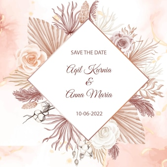 Modèle d'invitation de mariage aquarelle rose fiançailles élégante boho