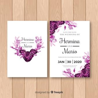 Modèle d'invitation de mariage aquarelle rose