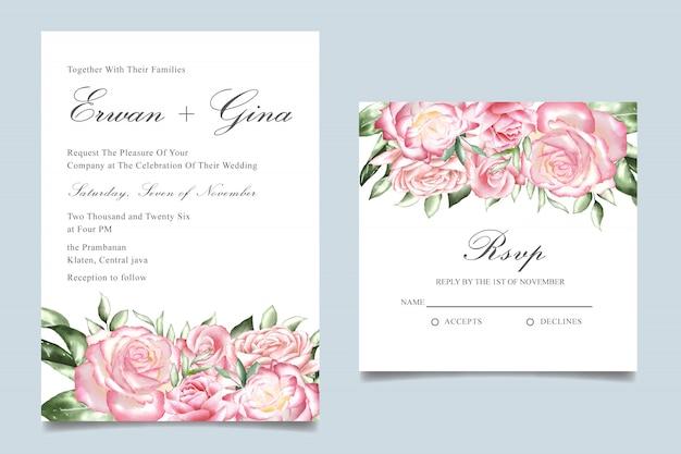 Modèle d'invitation de mariage aquarelle