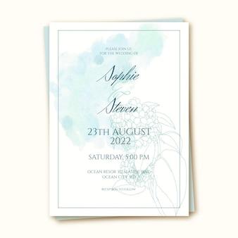 Modèle d'invitation de mariage à l'aquarelle