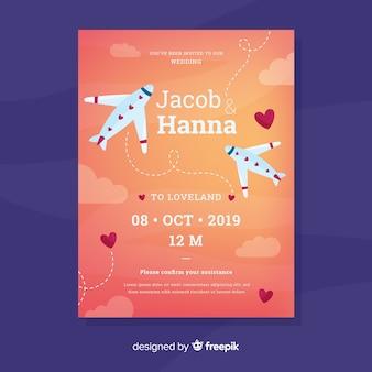 Modèle d'invitation de mariage avion dessiné à la main