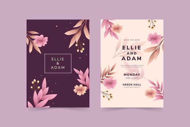 Modèle d'invitation de mariage beau et élégant
