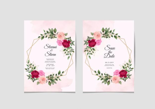 Modèle d'invitation de mariage beauté et élégant