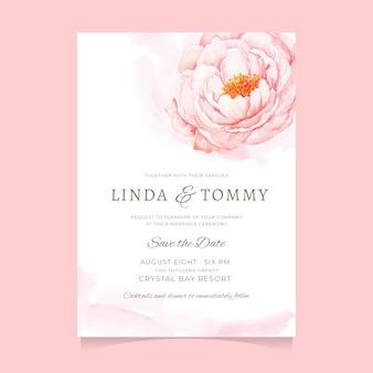 Modèle d'invitation de mariage belle fleur pivoine rose aquarelle