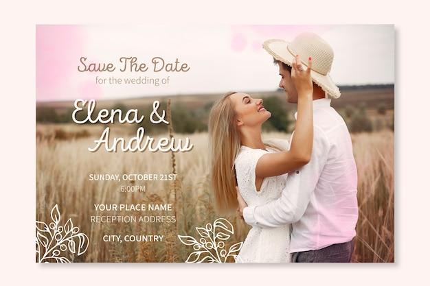 Modèle d'invitation de mariage belle avec photo