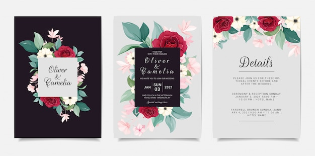 Modèle d'invitation de mariage bleu marine sertie de cadre floral. roses rouges, anémone et feuilles illustration botanique