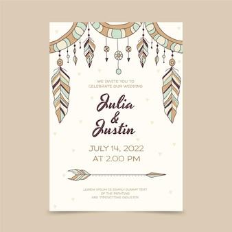 Modèle d'invitation de mariage boho dessiné à la main