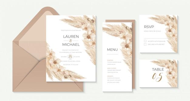 Modèle d'invitation de mariage boho avec de l'herbe de pampa et des orchidées