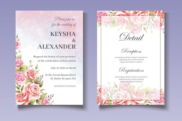Modèle d'invitation de mariage botanique