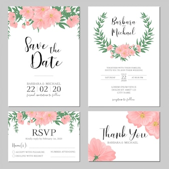 Modèle d'invitation de mariage bouquet de fleurs roses