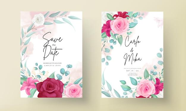 Modèle D'invitation De Mariage Avec Cadre De Belle Fleur Dessiné à La Main Vecteur Premium
