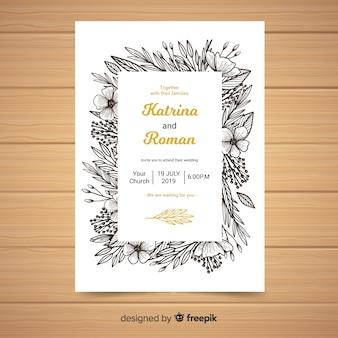 Modèle d'invitation de mariage cadre de croquis