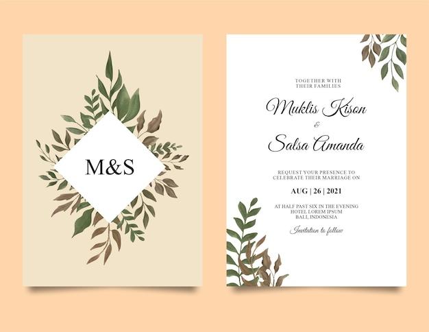 Modèle d'invitation de mariage avec cadre de feuille aquarelle