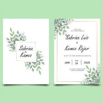 Modèle d'invitation de mariage avec cadre de feuille de style aquarelle