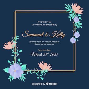 Modèle d'invitation de mariage cadre floral