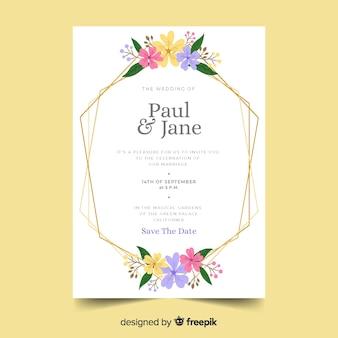 Modèle d'invitation de mariage avec cadre floral