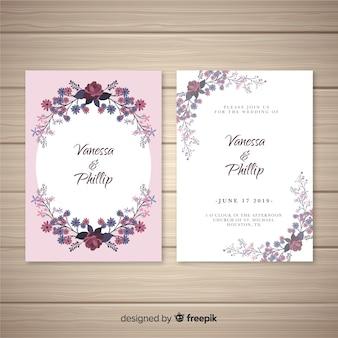 Modèle d'invitation de mariage cadre ovale