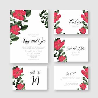 Modèle d'invitation de mariage cartes florales
