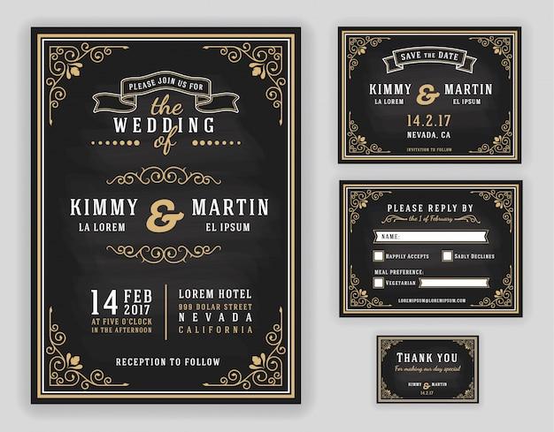 Modèle d'invitation de mariage chalkboard avec cadre de ligne flourishes