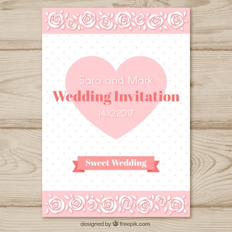 Modèle d'invitation de mariage avec coeur