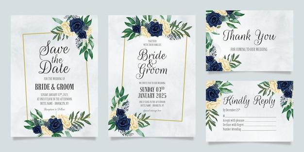 Modèle d'invitation de mariage avec composition florale aquarelle poussiéreuse