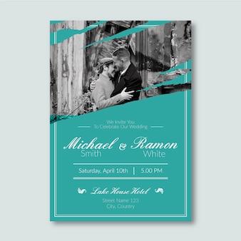 Modèle d'invitation de mariage avec concept photo